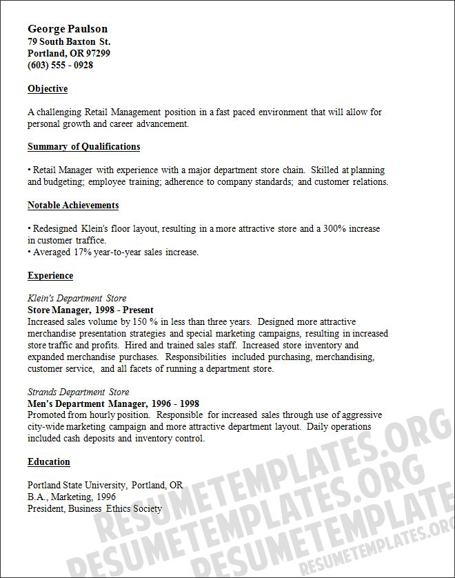 Resume Examples For Retail Store Manager Retail Manager