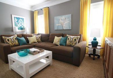 Orange Curtain Living Room