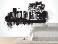 Cool Black and White City Wall Mural with Simple Bedding ...