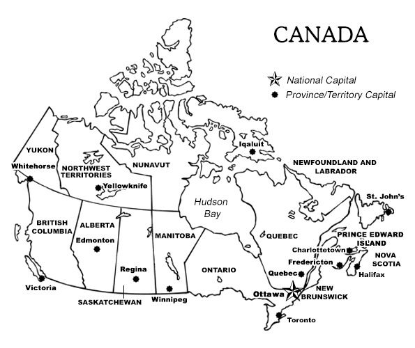 Black And White Map With Provinces Of Canada Pictures to