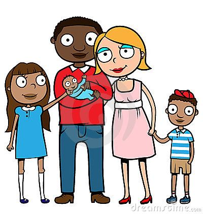 mixed family clip art cartoon