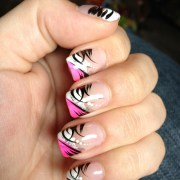 pink black and white nail design