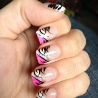 Pink, black, and white nail design | Perfectly Polished ...