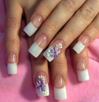White French manicure tips with curved smile line, glitter ...