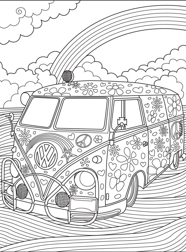 70 best Hippie Art + Peace Signs Coloring Pages for Adults