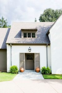 house color combination // white house // grey trim ...