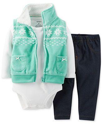 Carters Baby Girls 3-Piece Vest, Bodysuit s