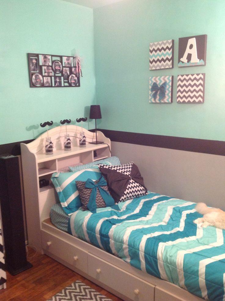 Grey Mint Green and Black Chevron Room  Cuteness  Pinterest  Grey walls Green and Mint green
