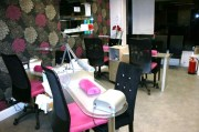 cute pink and black salon