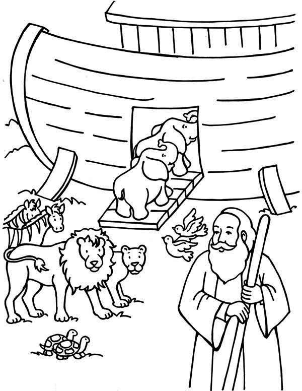 Noah Counting the Animals Before Departing the Ark