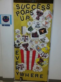 Classroom door decorated for College Month. First place