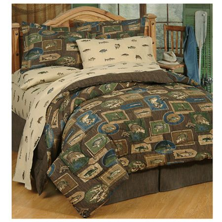 Delectably Yours Bedding Reel Fish Bedding Comforter Set in Twin or Queen Size SAVE 30  60