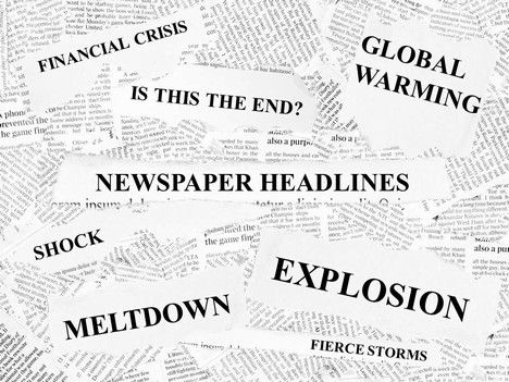 great template shows various newspaper headlines. They are