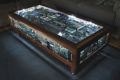 Circuit board coffee table….um yes.