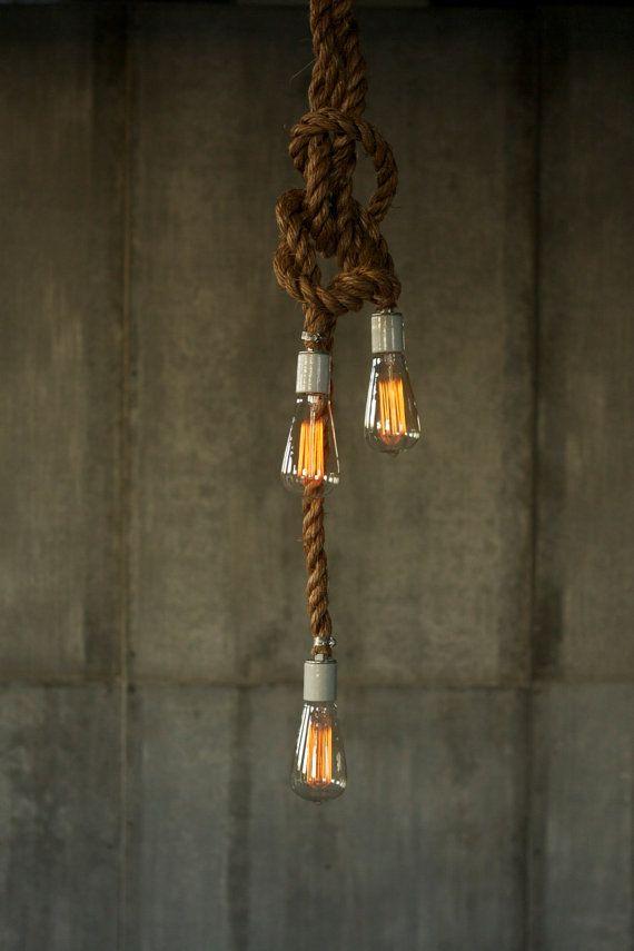 Rope Chandelier Lighting Industrial Light Hanging Light