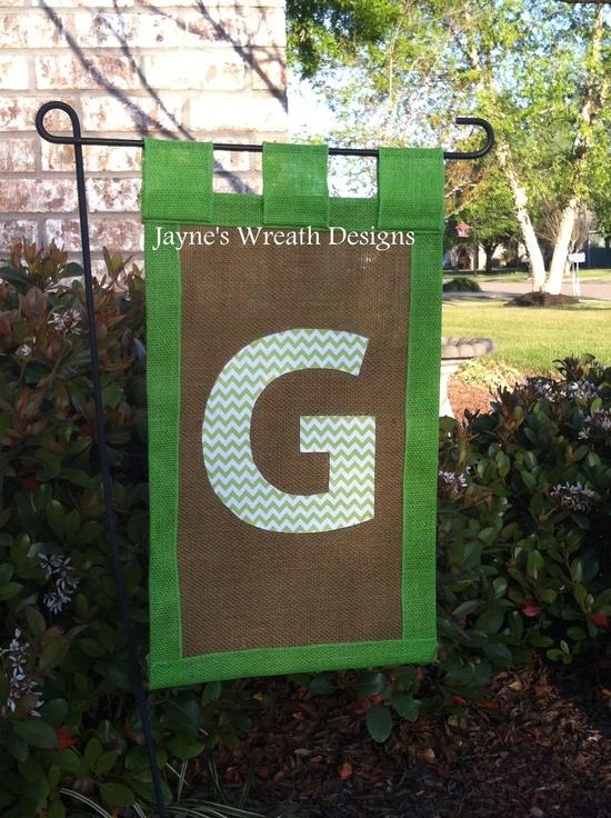 Primitive Garden Flags Monogrammed