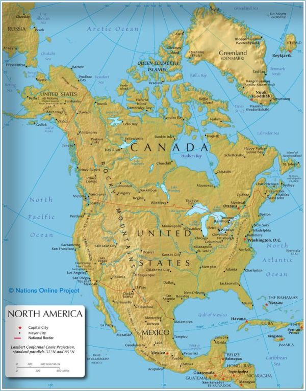 The map shows the states of North America Canada USA and