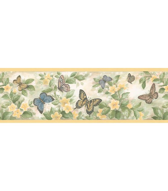 Butterfly Floral Border Wallpaper Border Yellow  Vinyls Floral border and Wallpaper borders