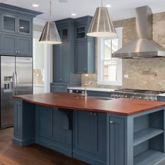 Open Metal Shelving Kitchen 2 Handle Faucet Blue Cabinets, Stainless Steel Appliances, #thermador ...