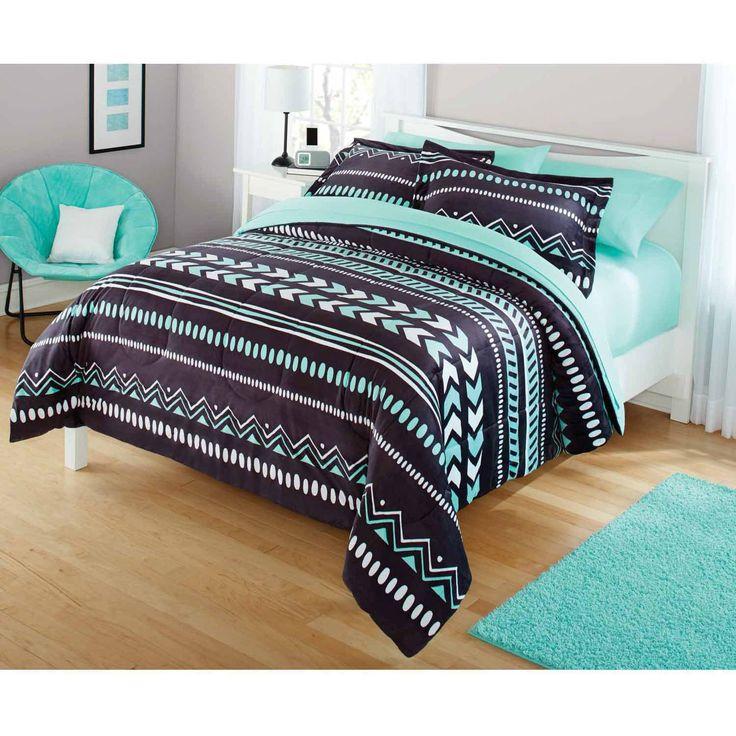 Your Zone Tribal Bedding Comforter Set Black Chevron