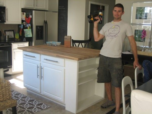 LOVE this DIY Butcher Block Island from a Cabinet and Shelf  Decorating Ideas I Really Like