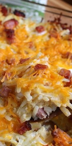 Hashbrown Casserole with Ham ~ This easy to make casserole can be made ahead, only takes minutes to put together, and it's a