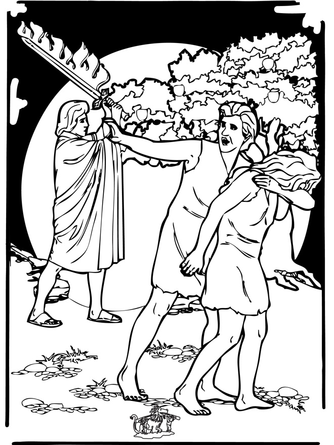 Adam and Eve expelled from the Garden of Eden Bible