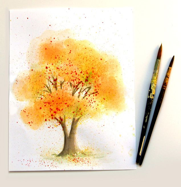 No art experience needed! Learn some fun methods to paint this Watercolor Fall Tree! – A Piece Of Rainbow
