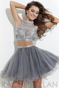 Hot Sale Silver Grey Beaded Short Tulle Two Piece Prom ...