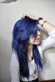 midnight blue hair and beauty