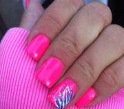 hot pink gel nail design girly