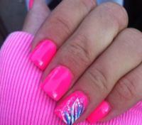 Hot pink gel nail design