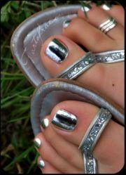 silver toenails with metallic