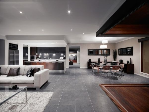 """gray porcelain tile living room Exile Ash Lappato - really like this too - particularly if you can make the grout """"disappear"""