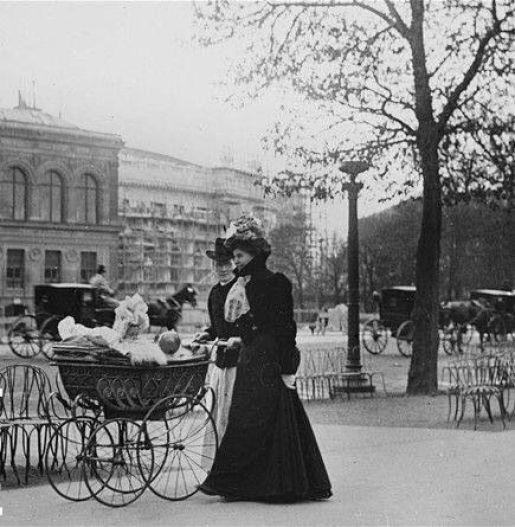 Walking down the Champs-Elysées, Paris,1900.: