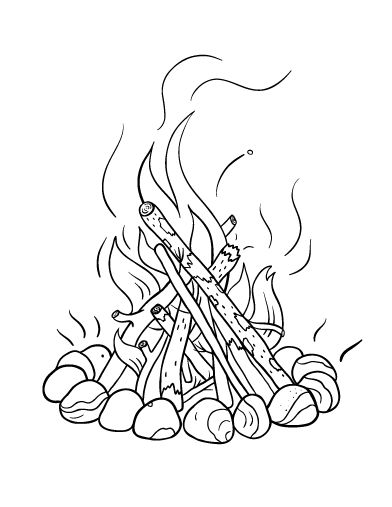 Printable campfire coloring page. Free PDF download at