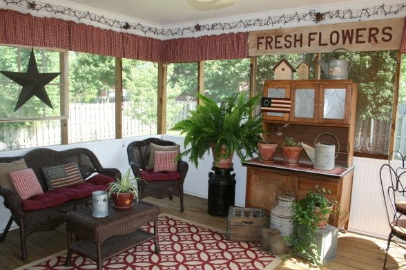 screen Porch Decorating  Screened Porchlove  Primitive Decorating Ideas  For the Home