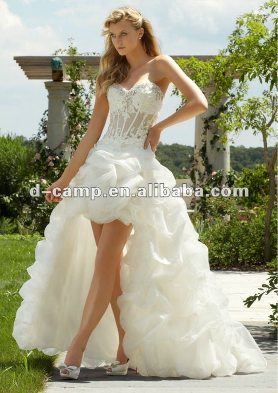 WD696 New arrival see through corset wedding dress front short and long back wedding dress