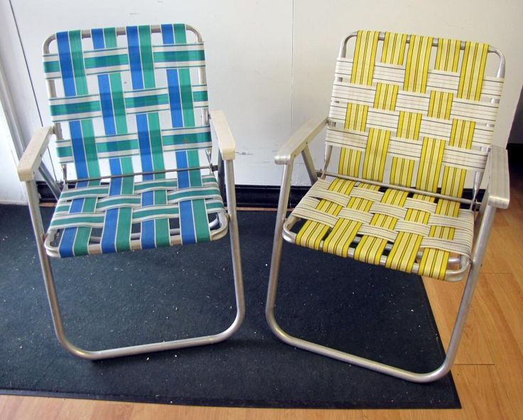 webbed folding lawn chairs small office club pair retro vtg vintage aluminum chair web strap patio lounge | gardens ...