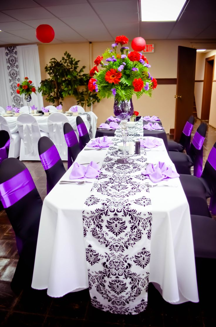 yellow spandex chair sashes cb2 desk event: black & white covers, purple satin sashes, polyester ...