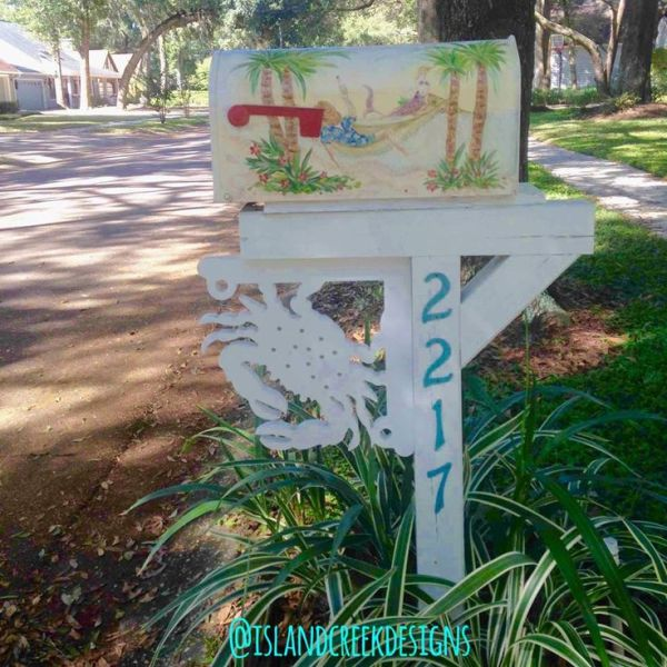 coastal beachy mailbox and post