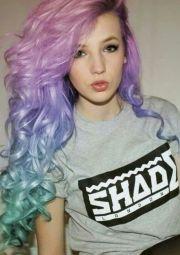 pastel rainbow curls pink lavender