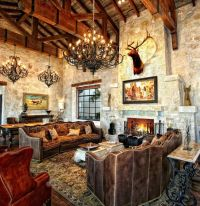Rustic Old World design, with truss ceiling and stone