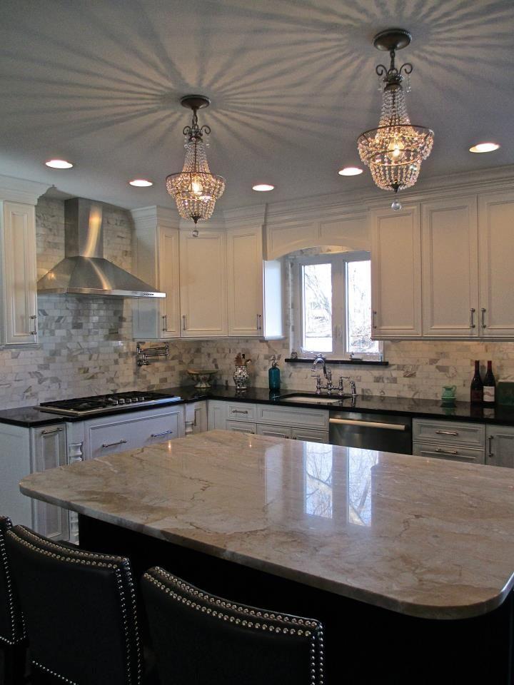 White Perimeter Kitchen With Black Countertops Dark