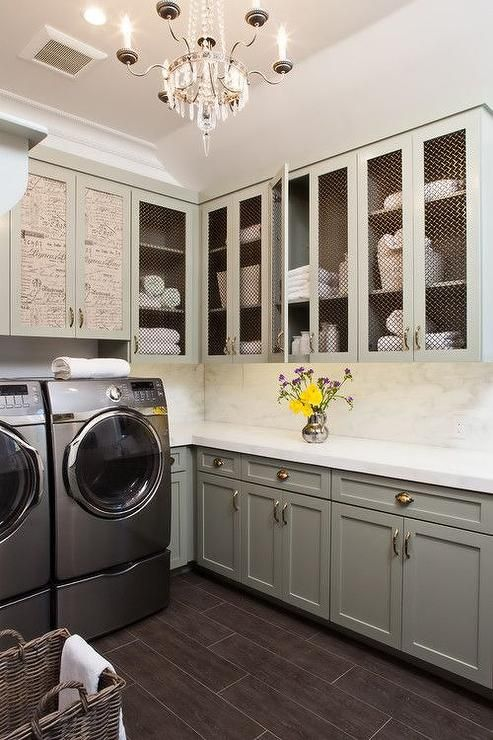 Laundry rooms Gray cabinets and Paris flea markets on