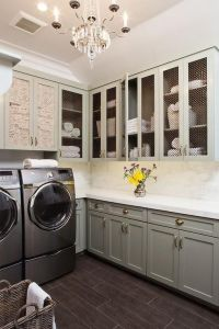 Laundry rooms, Gray cabinets and Paris flea markets on ...