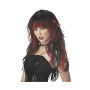 red color long curly hairstyle