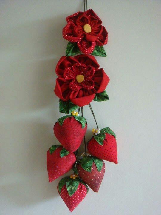 chair pads kitchen suede office flor de fuxico e morangos | guirlanda ,filtros dos sonhos pingentes pinterest manualidades
