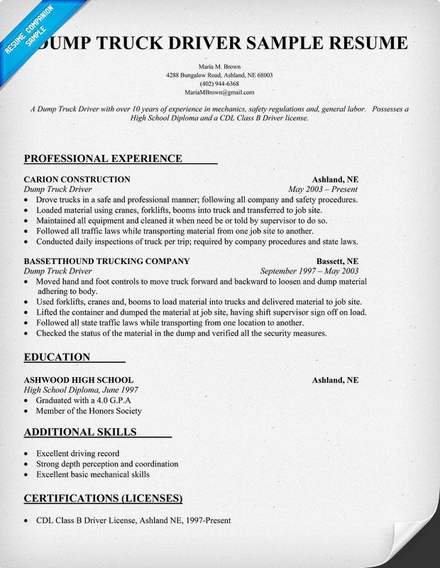 Dump Truck Driver Resume Sample resumecompanioncom