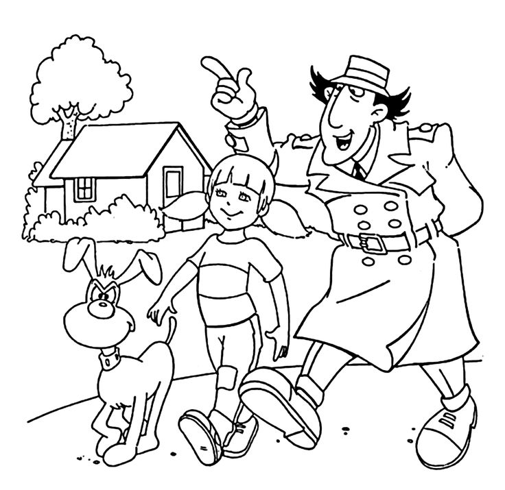 Inspector Gadget, Penny and dog walking coloring pages for